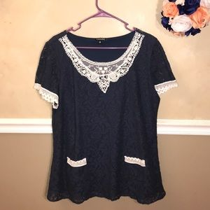 Hannah lace overlay top with pockets